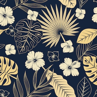 Nahtloses muster mit tropischen blättern und blüten. eleganter exotischer hintergrund.