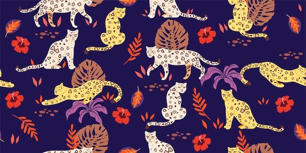 Nahtloses muster mit tropischen blättern und leoparden. grafik