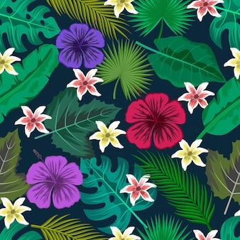 Nahtloses muster mit tropischen blättern und schönen blumen