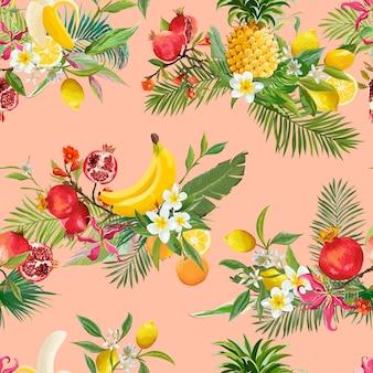 Nahtloses muster mit tropischen früchten