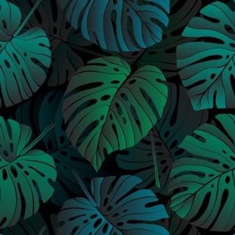 Nahtloses muster mit tropischen monsterpflanzeblättern.