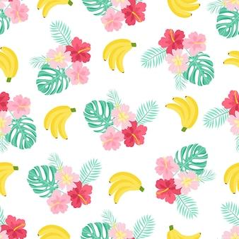 Nahtloses muster mit tropischen palmblättern, blumen und früchten. vektor-illustration.