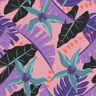 Nahtloses muster mit tropischen pflanzen auf korallenroter farbe