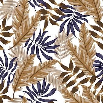Nahtloses muster mit tropischen pflanzen. illustration im hawaiianischen stil.