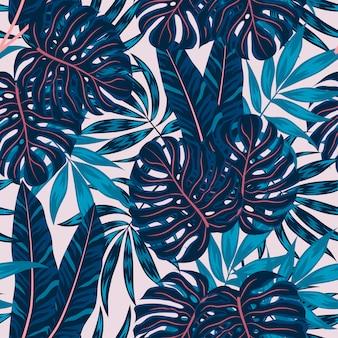 Nahtloses muster mit tropischen pflanzen und blättern