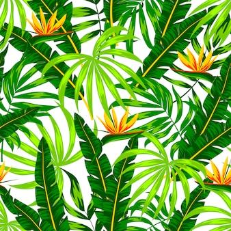 Nahtloses muster mit tropischen pflanzen und blumen