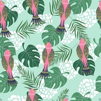 Nahtloses muster mit tropischen rosa vögeln und blumen
