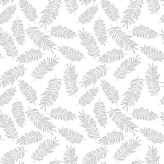 Nahtloses muster mit tropischen schwarzblättern auf weißem hintergrund