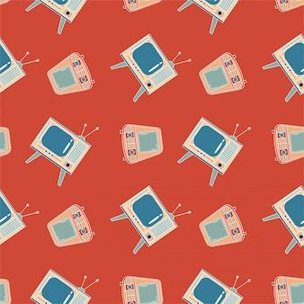 Nahtloses muster mit tv. alter und retro-fernseher. roter hintergrund geometrische linie