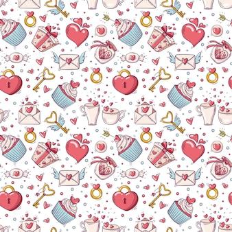 Nahtloses muster mit valentinstagillustration