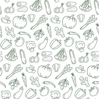 Nahtloses muster mit vegetarischem essen.