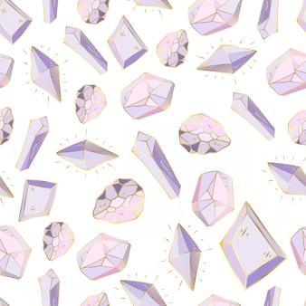 Nahtloses muster mit vektor farbigen kristallen oder edelsteinen