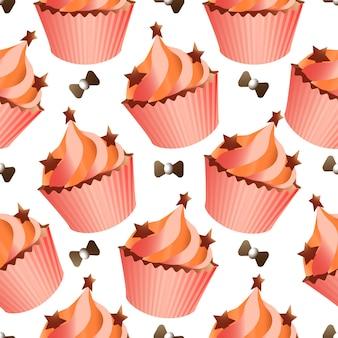 Nahtloses muster mit verschiedenen cupcakes auf weißem hintergrund. süßes gebäck verziert mit herzen, kirsche, blume und stern.