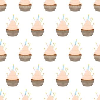 Nahtloses muster mit verschiedenen cupcakes auf weißem hintergrund.