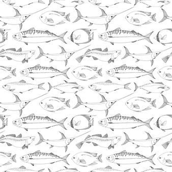 Nahtloses muster mit verschiedenen fischen.