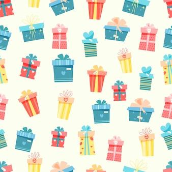 Nahtloses muster mit verschiedenen geschenkboxen