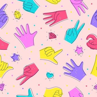 Nahtloses muster mit verschiedenen händen illustration im doodle-stil bezeichnung von zahlen mit händen Premium Vektoren