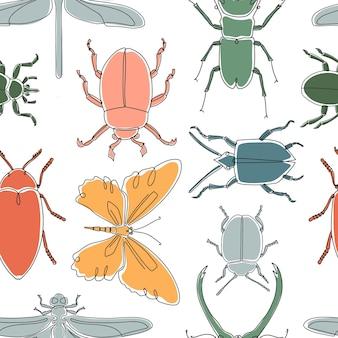 Nahtloses muster mit verschiedenen insekten. handgezeichnete vektorillustration für tapeten, verpackung.