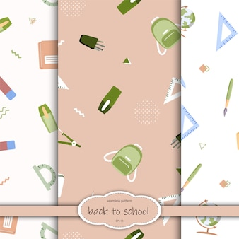Nahtloses muster mit verschiedenen schulmaterialien auf einem weißen hintergrund. illustration im flachen stil.