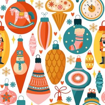 Nahtloses muster mit verschiedenen weihnachtsdekorationen.