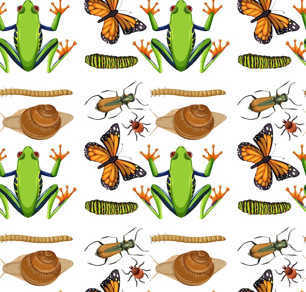 Nahtloses muster mit vielen insekten auf weißem hintergrund