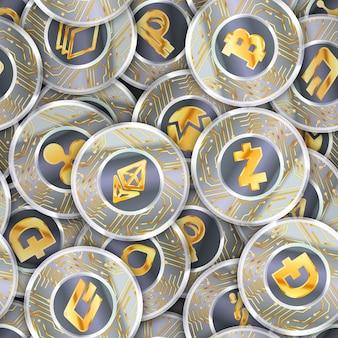 Nahtloses muster mit vielen münzen mit mikrochipmuster und den beliebtesten kryptowährungszeichen wie bitcoin, ethereum, ripple, litecoin, peercoin, nxt, namecoin, bitshares, stratis, dash und zcash