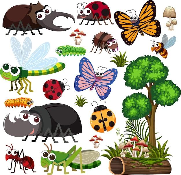 Nahtloses muster mit vielen verschiedenen käfercharakteren auf weißem hintergrund