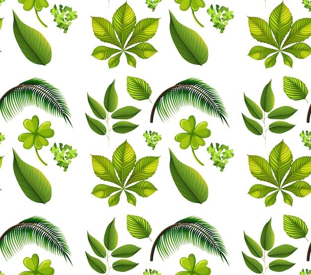 Nahtloses muster mit vielen verschiedenen pflanzen auf weiß