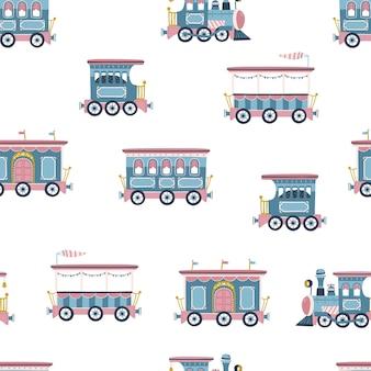 Nahtloses muster mit vintage-zug. lokomotive und wagen im einfachen handgezeichneten stil