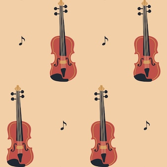 Nahtloses muster mit violine oder cello und noten music day vector musikinstrumentenset