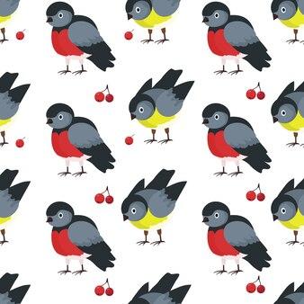 Nahtloses muster mit vögeln dompfaffen und meisen