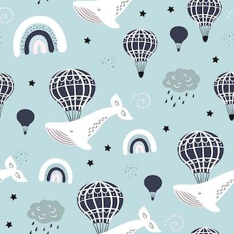 Nahtloses muster mit wal, ballon, wolke im himmel