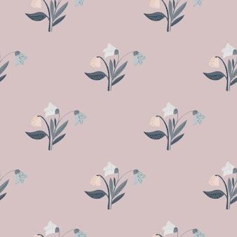 Nahtloses muster mit waldblumenstrauß-silhouetten