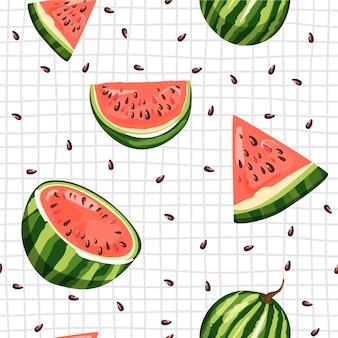 Nahtloses muster mit wassermelone. sommergefühl