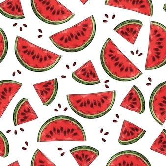 Nahtloses muster mit wassermelone und samen