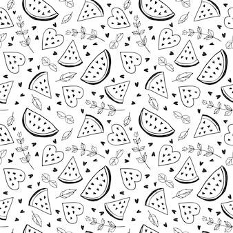 Nahtloses muster mit wassermelonen und minze. schwarzweiss-illustration.