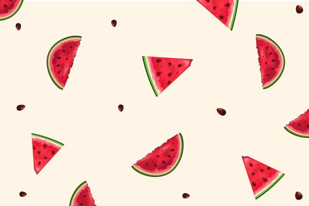 Nahtloses muster mit wassermelonen. wassermelone, scheibe wassermelone auf weißem hintergrund.