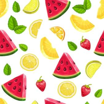 Nahtloses muster mit wassermelonenscheiben, erdbeere, limette, minze und zitrone. sommer erfrischender fruchthintergrund.