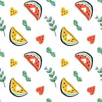 Nahtloses muster mit wassermelonenscheiben, herzformen und minzblättern. obst und kräuter. Premium Vektoren