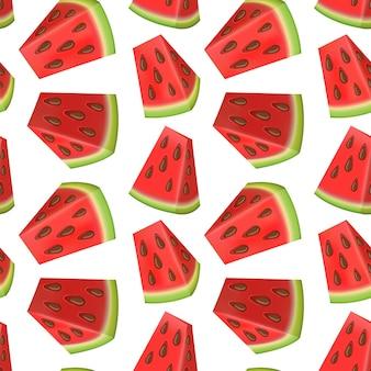 Nahtloses muster mit wassermelonenscheiben im cartoon-stil