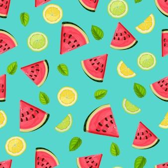 Nahtloses muster mit wassermelonenscheiben, limette, minze und zitrone.