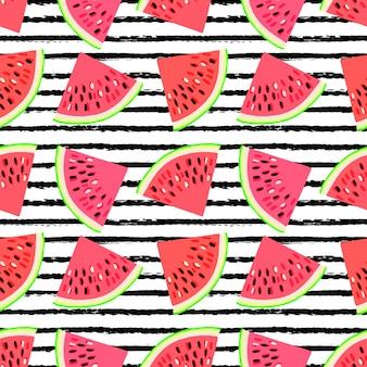 Nahtloses muster mit wassermelonenscheiben