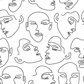 Nahtloses muster mit weiblichen porträts. eine strichzeichnung.