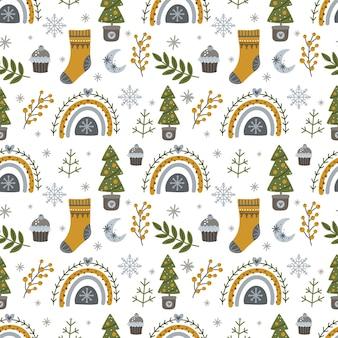 Nahtloses muster mit weihnachten und neujahr mit weihnachtsbäumen, regenbögen und winterelementen