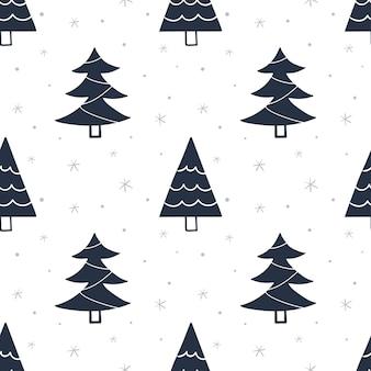 Nahtloses muster mit weihnachtsbäumen. hintergrund für packpapier, grußkarten, kleidung.