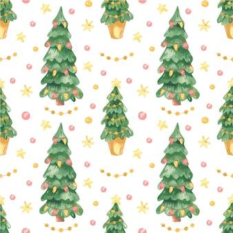 Nahtloses muster mit weihnachtsbäumen
