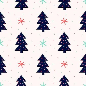 Nahtloses muster mit weihnachtsbaum für geschenkpapier
