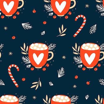 Nahtloses muster mit weihnachtsbechern. hand gezeichnete textur für winterferien.