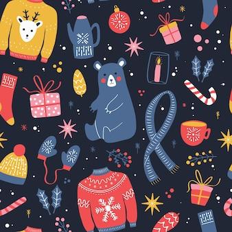 Nahtloses muster mit weihnachtselementen