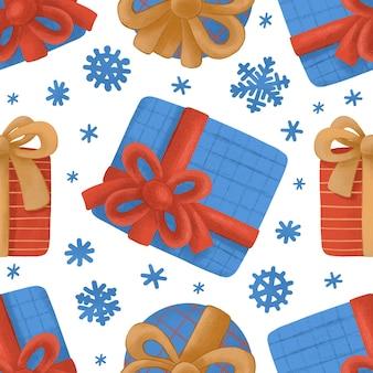 Nahtloses muster mit weihnachtsgeschenken und schneeflocken